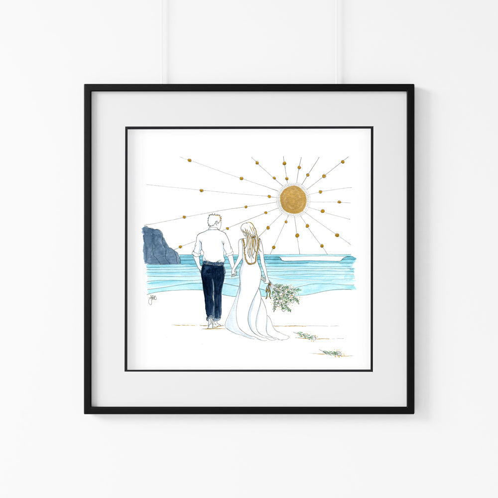 'Beach Wedding' Giclee Art Print - Hand Finished