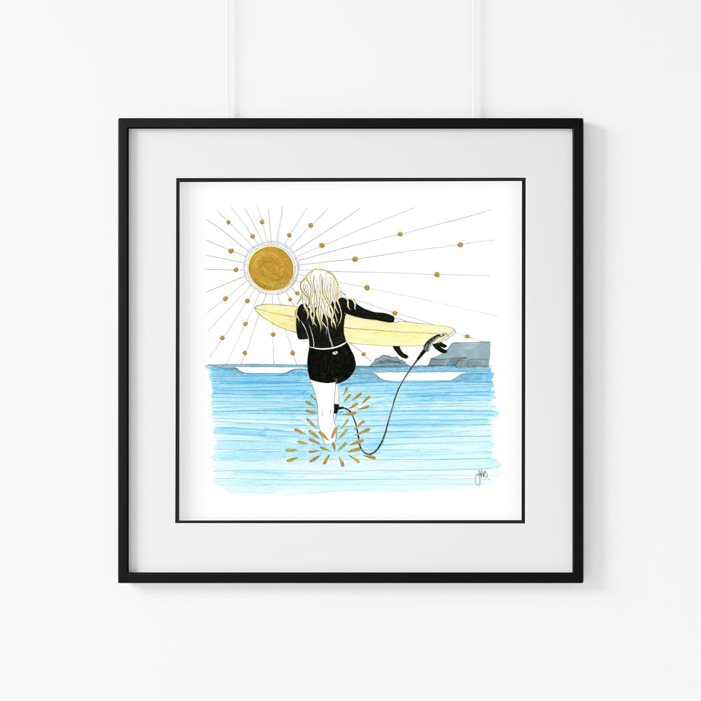 'In to the Ocean' Giclee Art Print - Hand Finished