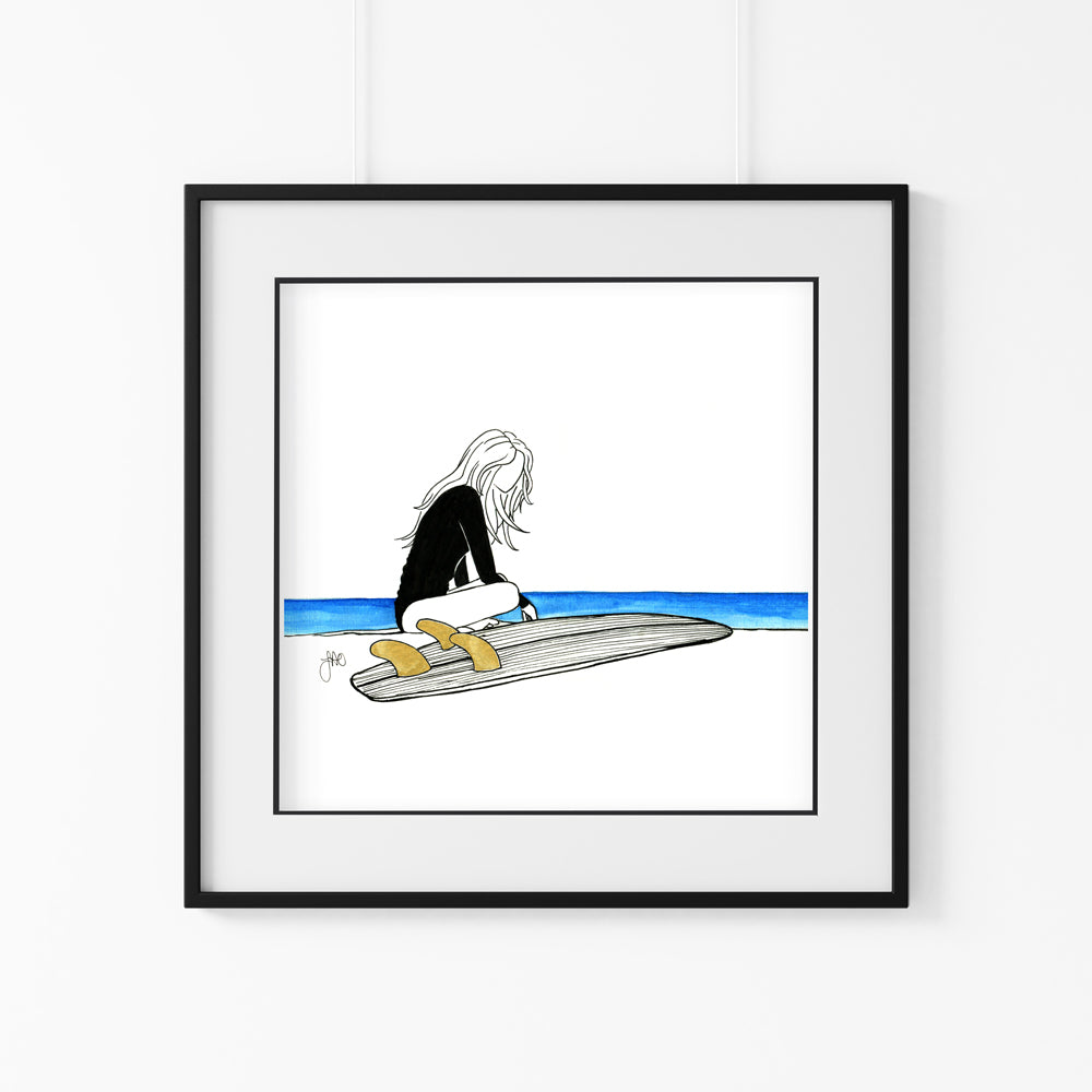 'No Waves for Days' Giclee Art Print - Hand Finished