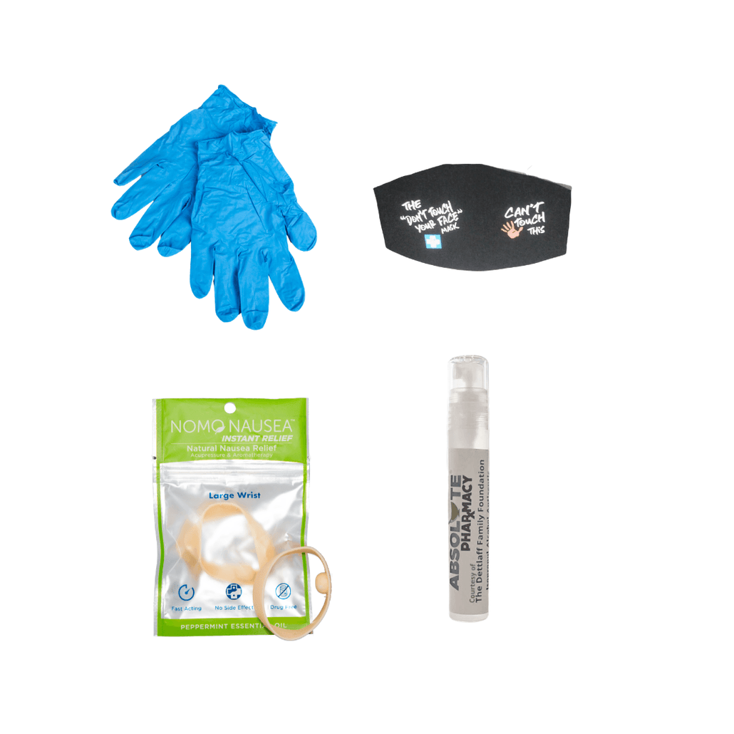 No Mo Nausea Bands Basic PPEKit, PPE Gear, & PPE Safety Kit| Hand Sanitizer |Blue Nitrile Gloves Powder Free| Face Cover & Mouth Cover & Nose Cover| No Mo Nausea Wristband For Natural Nausea Relief| Peppermint Oil Infusion