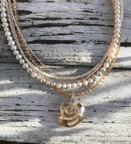 Champagne and Pearls Necklace