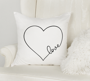 heart shape love white pillow cover with zipper