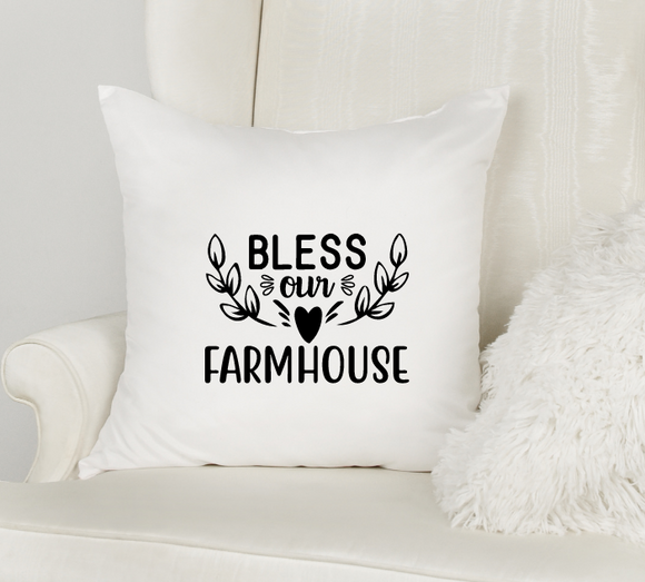 Bless our farmhouse white pillowcase cover with zipper