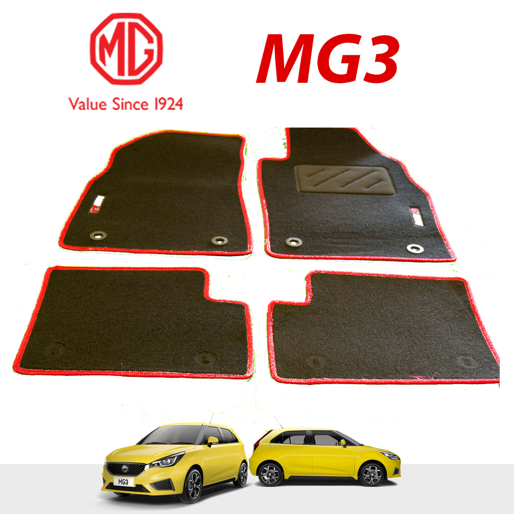 MG 3 Carpet Mats Red Black Genuine Floor Mats With Logo - Set Of 4.