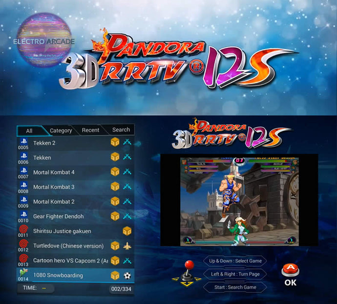 Pandora's box 12s 3D arcade game 3,333 included game titles list