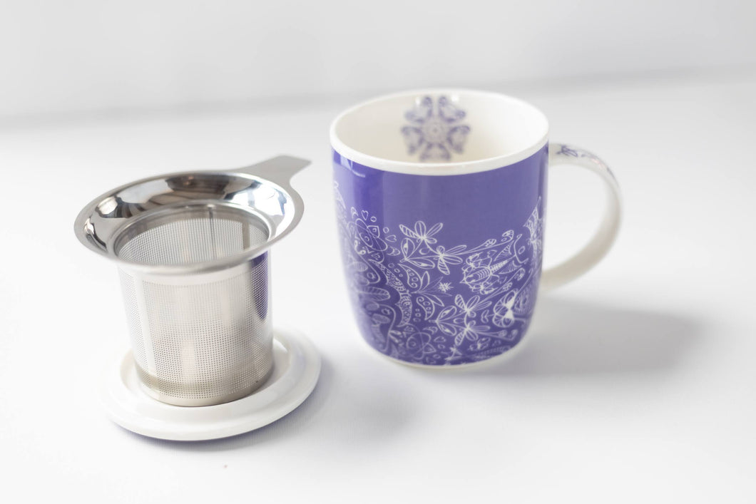 Mandala Purple Bone China mug with infuser 320ML