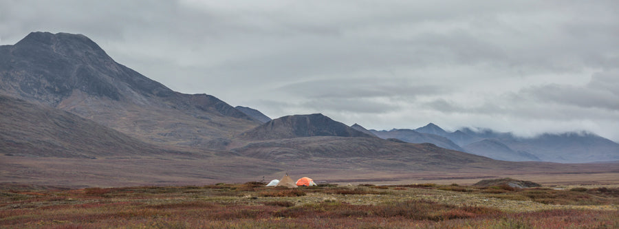Basecamp overlooking the North Slope of the Brooks Range.