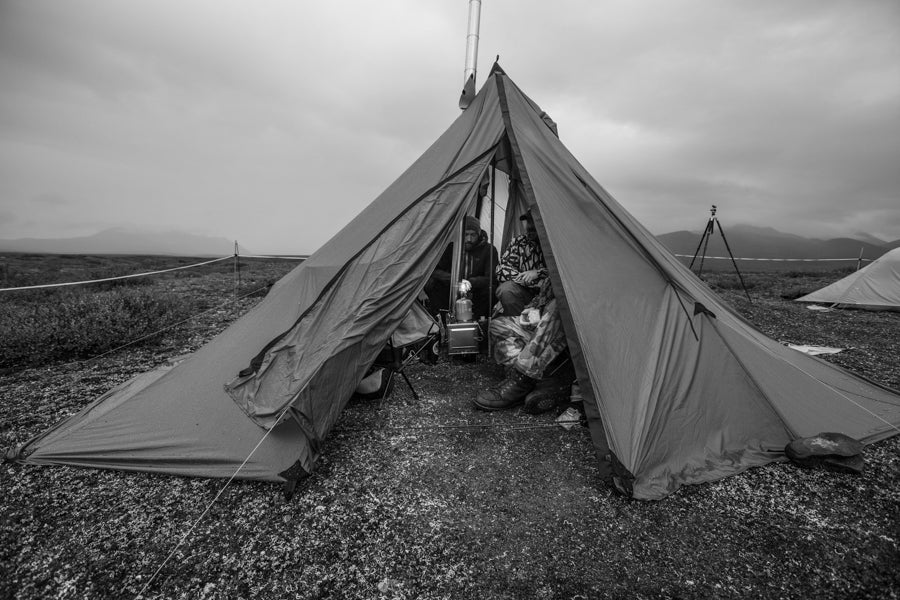 It rains in Alaska, a lot - having a shelter large enough to accommodate all of us was a godsend.