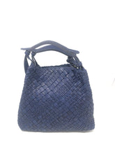 Load image into Gallery viewer, Massimo Frattasio Amalfi Plaited Handle Shopper Handbag in Navy