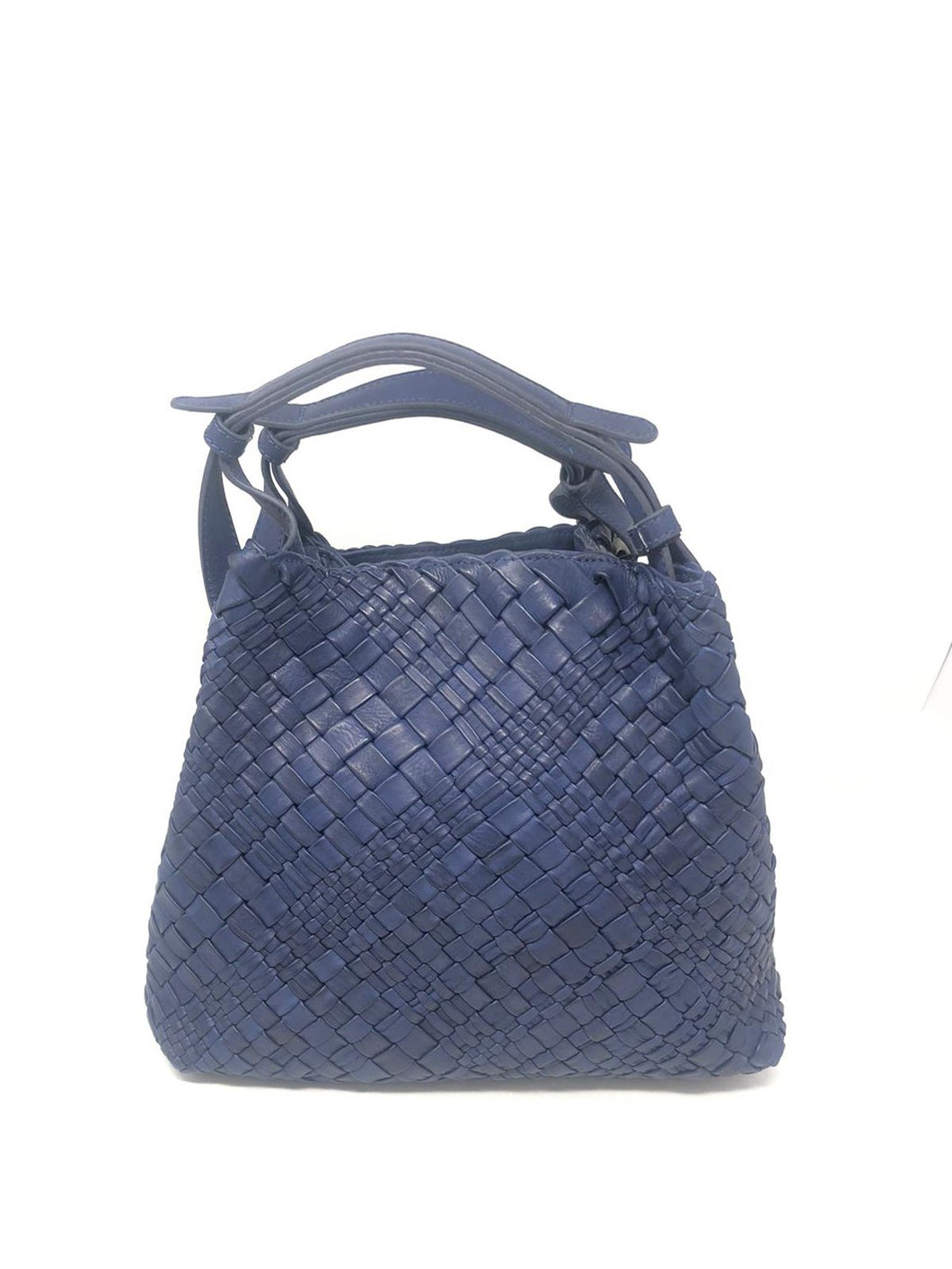 Massimo Frattasio Amalfi Plaited Handle Shopper Handbag in Navy