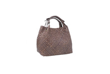 Load image into Gallery viewer, Massimo Frattasio Amalfi Plaited Handle Shopper Handbag in Truffle