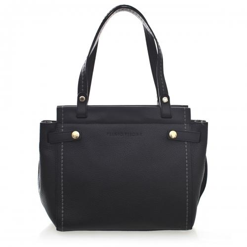 Plinio Visona Rosalia Luxury Leather Handbag in Black