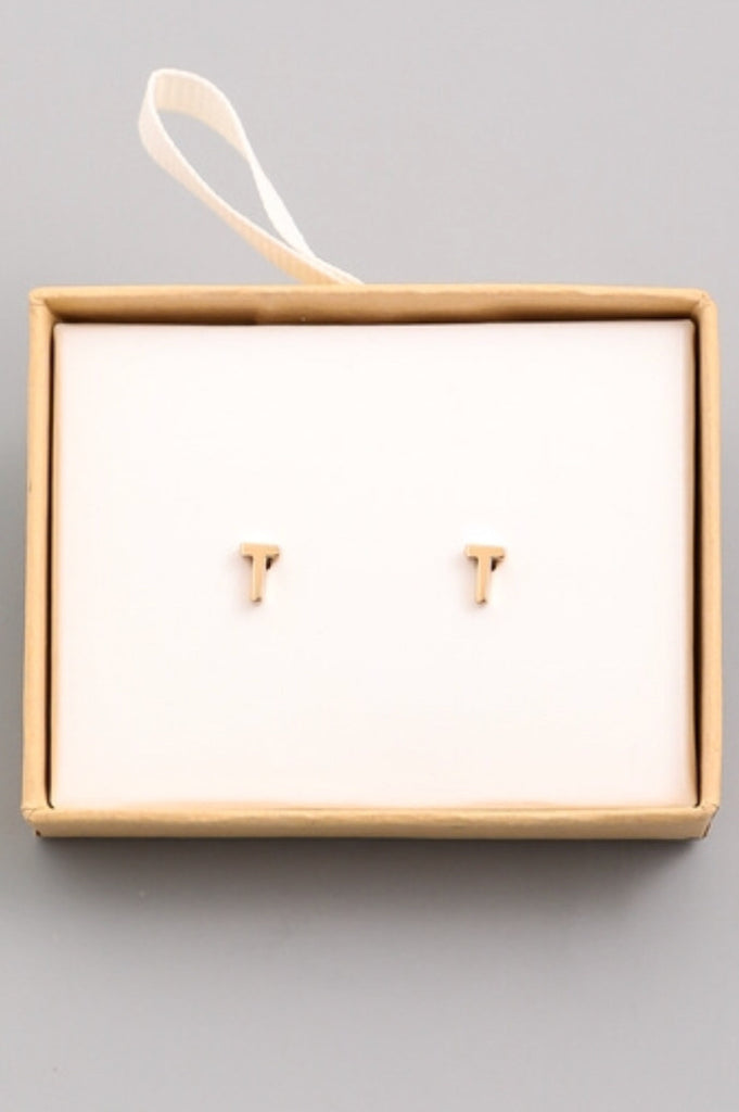 """T"" Love Initial Stud Earrings"