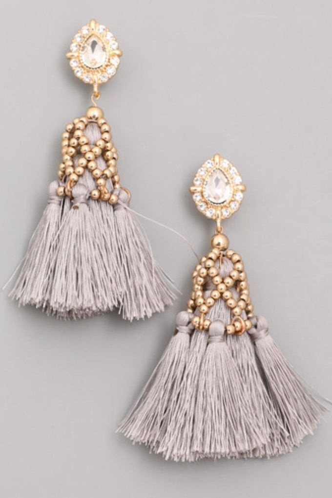 Platinum Tassel Earrings