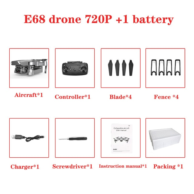 2020 NEW E68 Drone HD wide angle 4K WIFI 1080P FPV Drones video live Recording