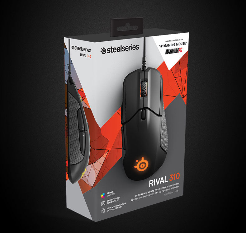 SteelSeries Rival 310 RGB FPS USB Optical Gaming Wired Mouse with 12000 CPI Split-Trigger Buttons