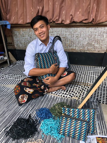 Artisan Putu Awan with our Saroka Weekender