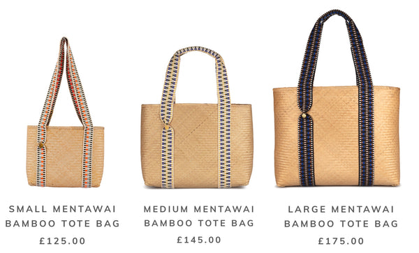 STELAR Mentawai Bamboo Tote Bags in Small, Medium and Large with prices
