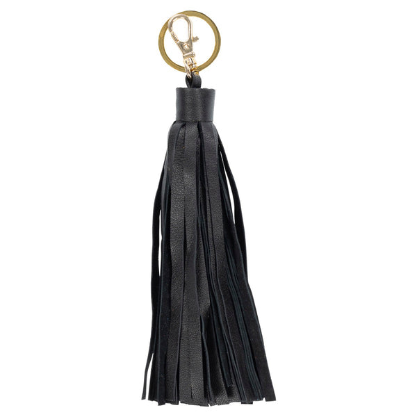 Detachable Leather Tassel Key Charm with Clasp