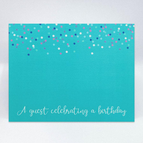 Confetti On Blue Card - Simple Hospitality