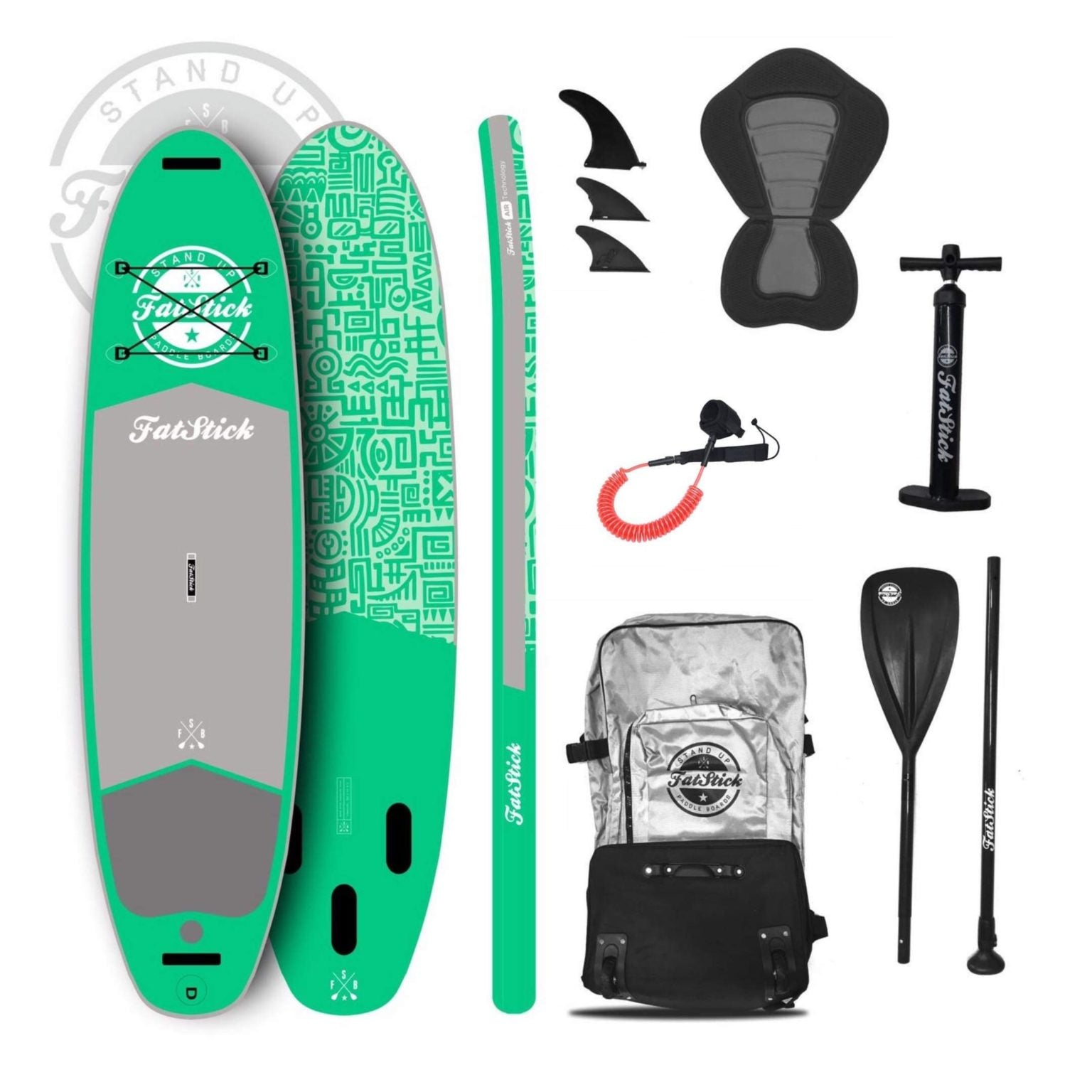 Fatstick Snot Rocket iSUP package complete with board, wheeled bag, leash, kayak seat, pump, paddle, fins and repair kit.