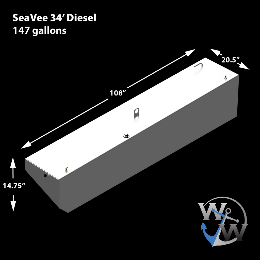 SeaVee 34' 2002 - Diesel Saddle Fuel Tanks (147 gal. x 2) Combo