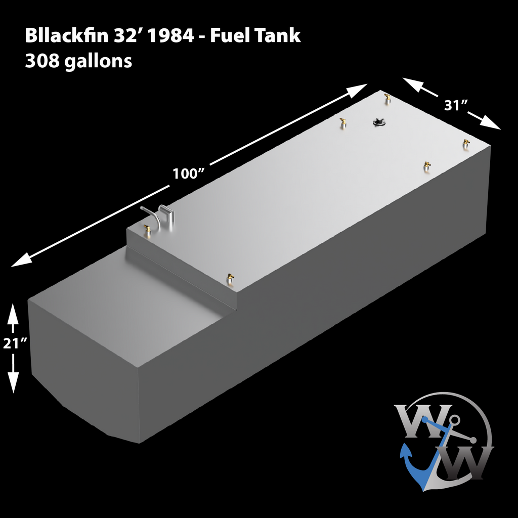 Blackfin 32' 1984 Diesel - 308 gal. OEM Replacement Belly Fuel Tank