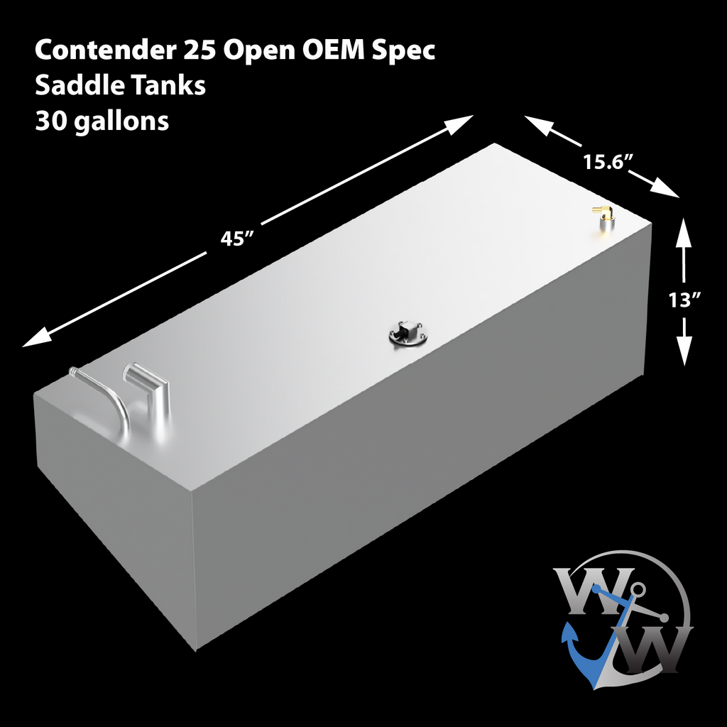 Contender 25 Open OEM Replacement 3 Fuel Tank Combo Kit -1 Belly (180 gal.) & 2 Standard (30 gal.) Saddle Tanks