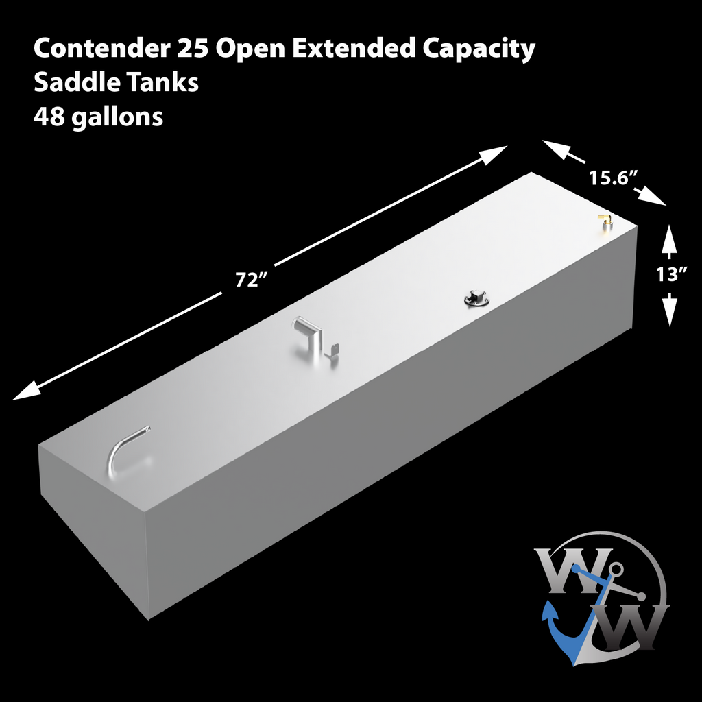 Contender 25 Open Extended Capacity 3 Fuel Tank Combo Kit -1 Belly (180 gal.) & 2 Extended (48 gal.) Saddle Tanks