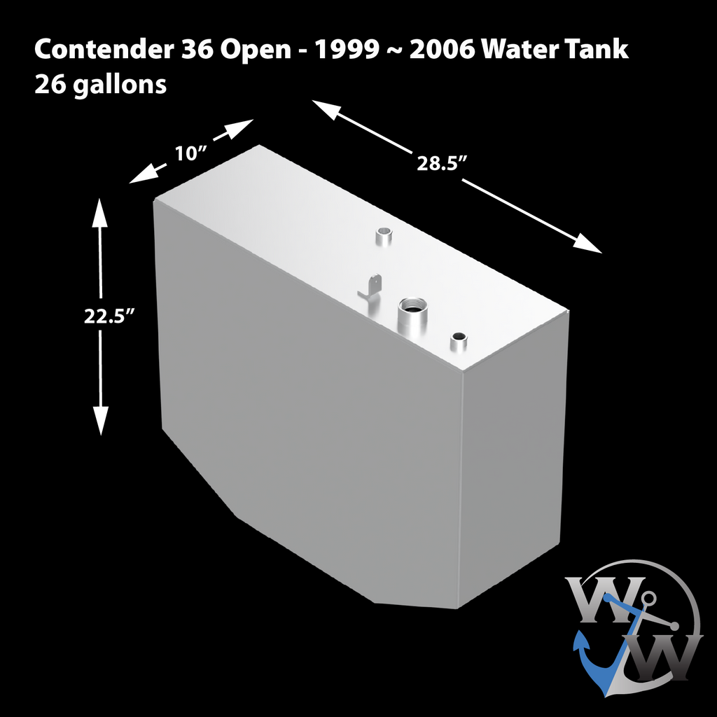 Contender 36 Open 1999 ~ 2006 OEM Replacement 4-Tank Combo Kit  - 1 Belly (220 gal.), 2 Saddle Tanks (130 gal.) each & 1 Water (26 gal.) tank