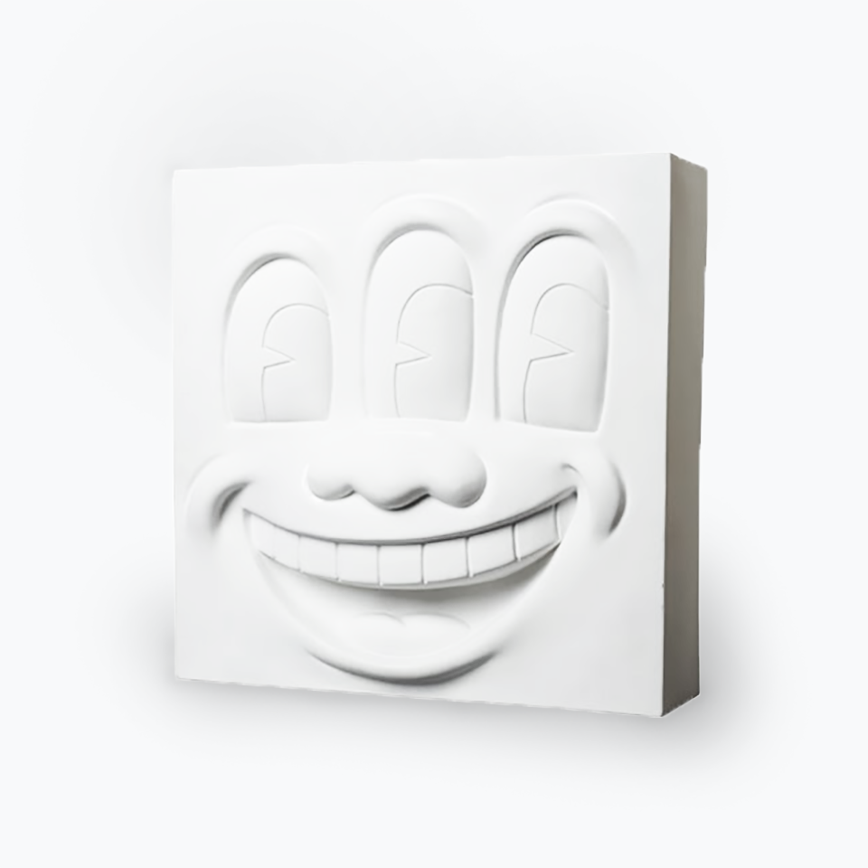 Keith Haring Three Eyed Smiling Face (White Version) Statue