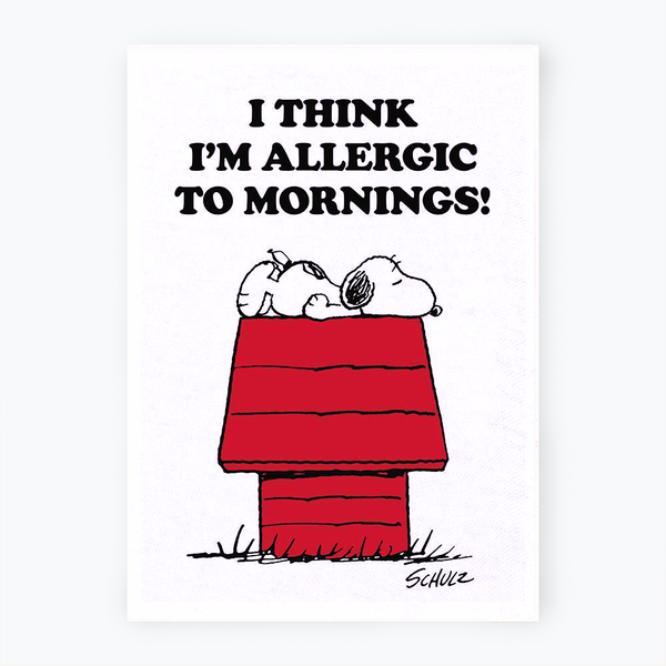 Peanuts 'Allergic to Mornings' Tea Towel