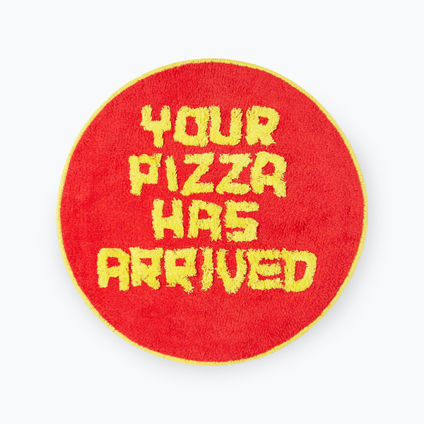 David Shrigley Shaggy Your Pizza Has Arrived Floor Mat