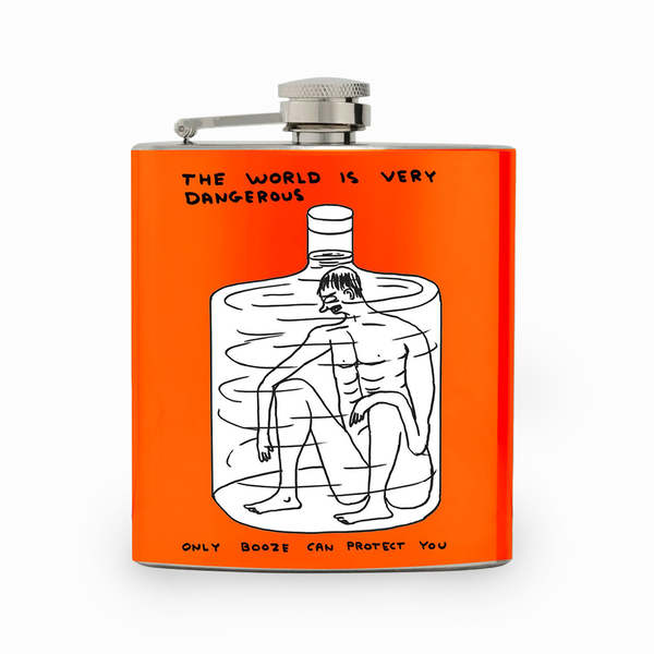 David Shrigley The World is Very Dangerous Hip Flask