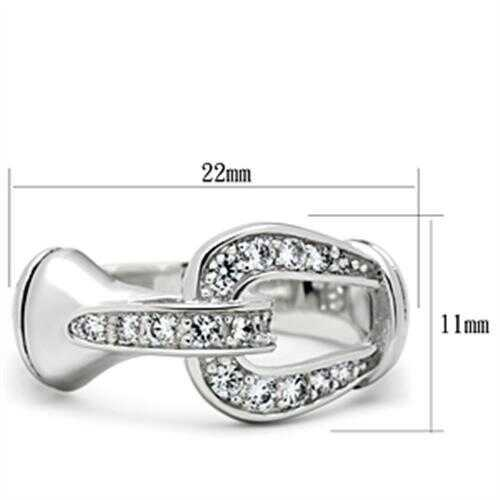 Loas1174-925 Sterling Silver Ring Rhodium Women Aaa Grade Cz Clear A874-loas1174