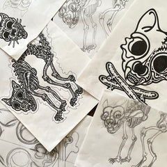 drawings and sketches of the cat head skull