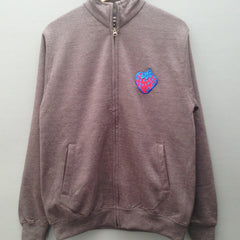 Insane Strawberry Grey Zip Crew Sweatshirt.