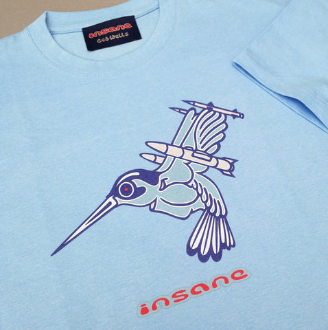 Humming Bird on Sky Blue T shirt