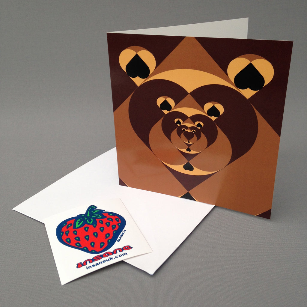 Tunnel of Love Bears greetings card.