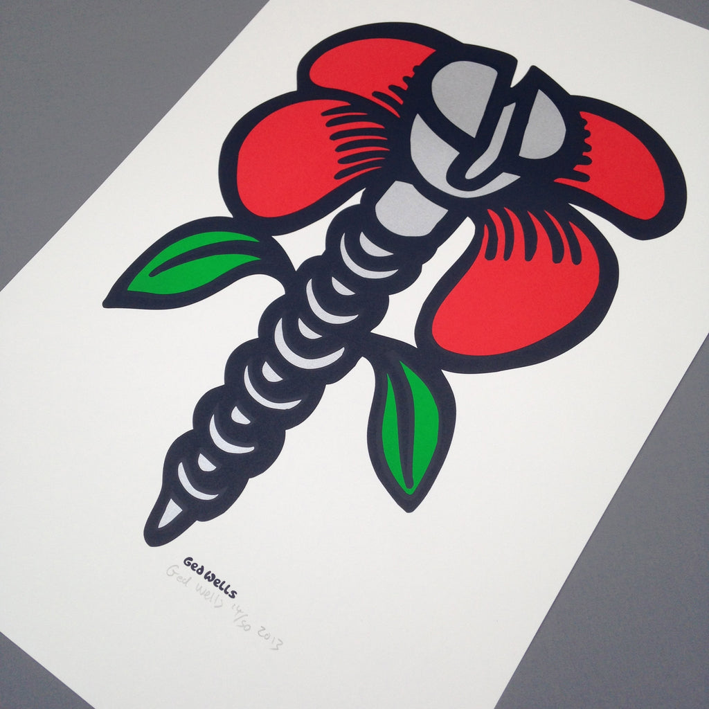 Screw Flower Screen Print