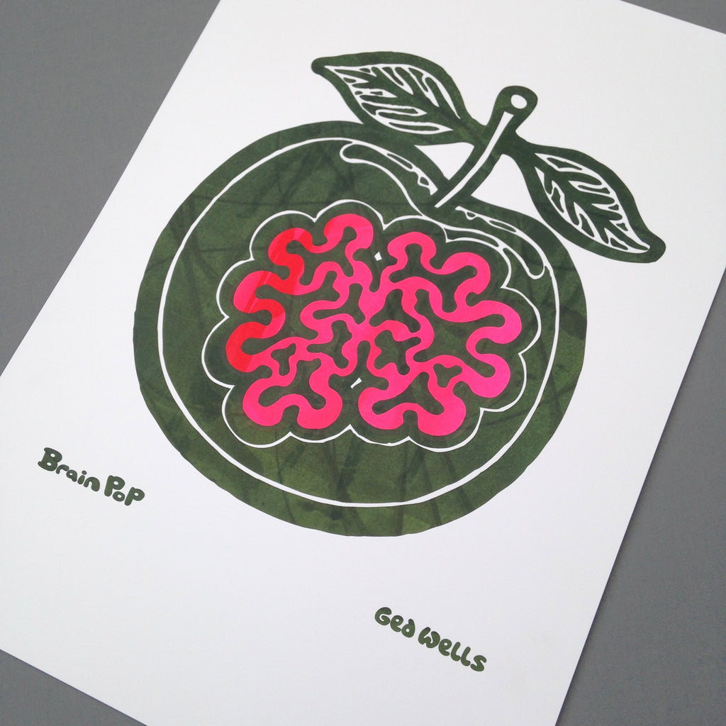 Brain Apple Screen Print.