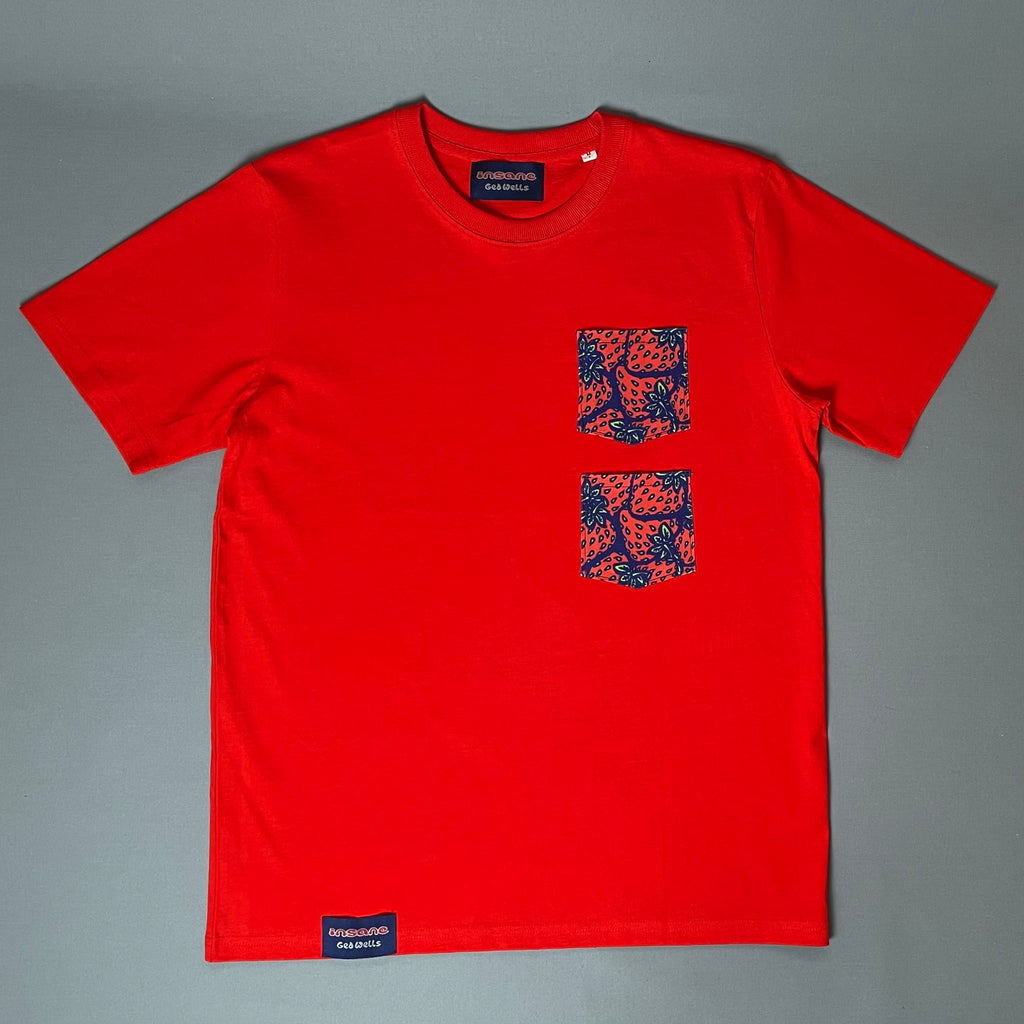 Insane Strawberry Double-Pocket Red T-Shirt