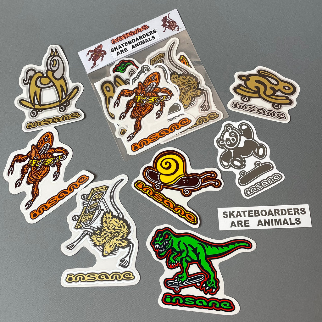 Skateboarders Are Animals Sticker Pack
