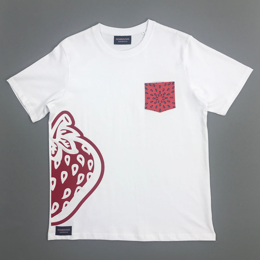Insane Strawberry Pip Pocket Heavy White T Shirt.