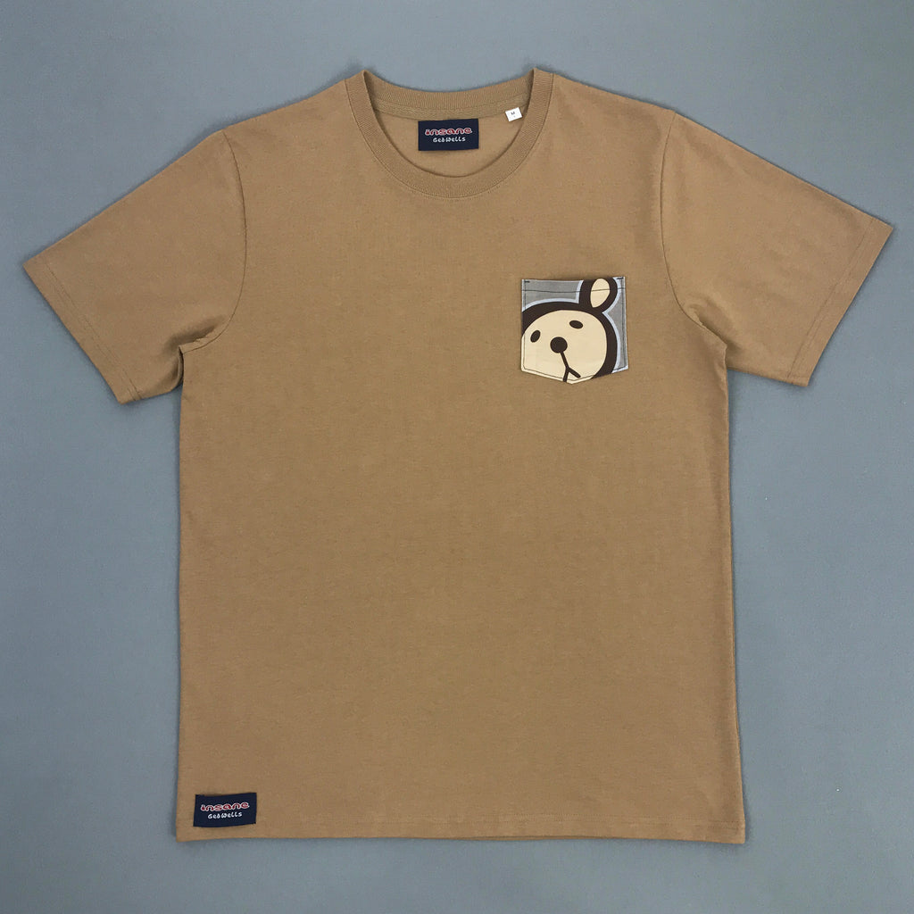 Twisted Teddy Pocket Heavy Camel T Shirt
