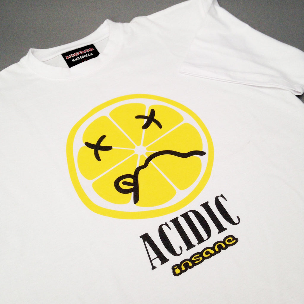 Insane ACIDIC LEMON, White T Shirt.