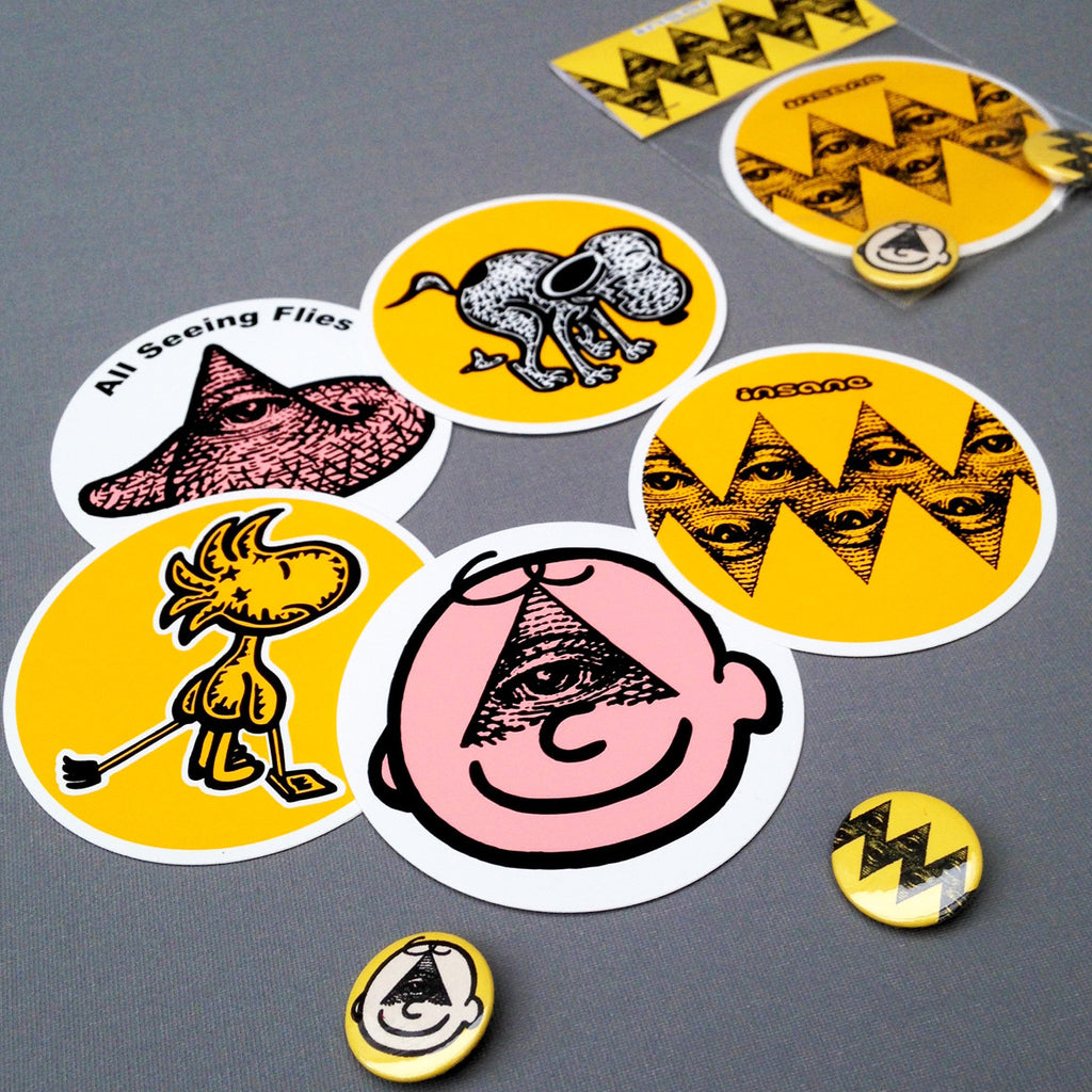 All Seeing Charlie Brown Sticker/Pin Badge Pack.