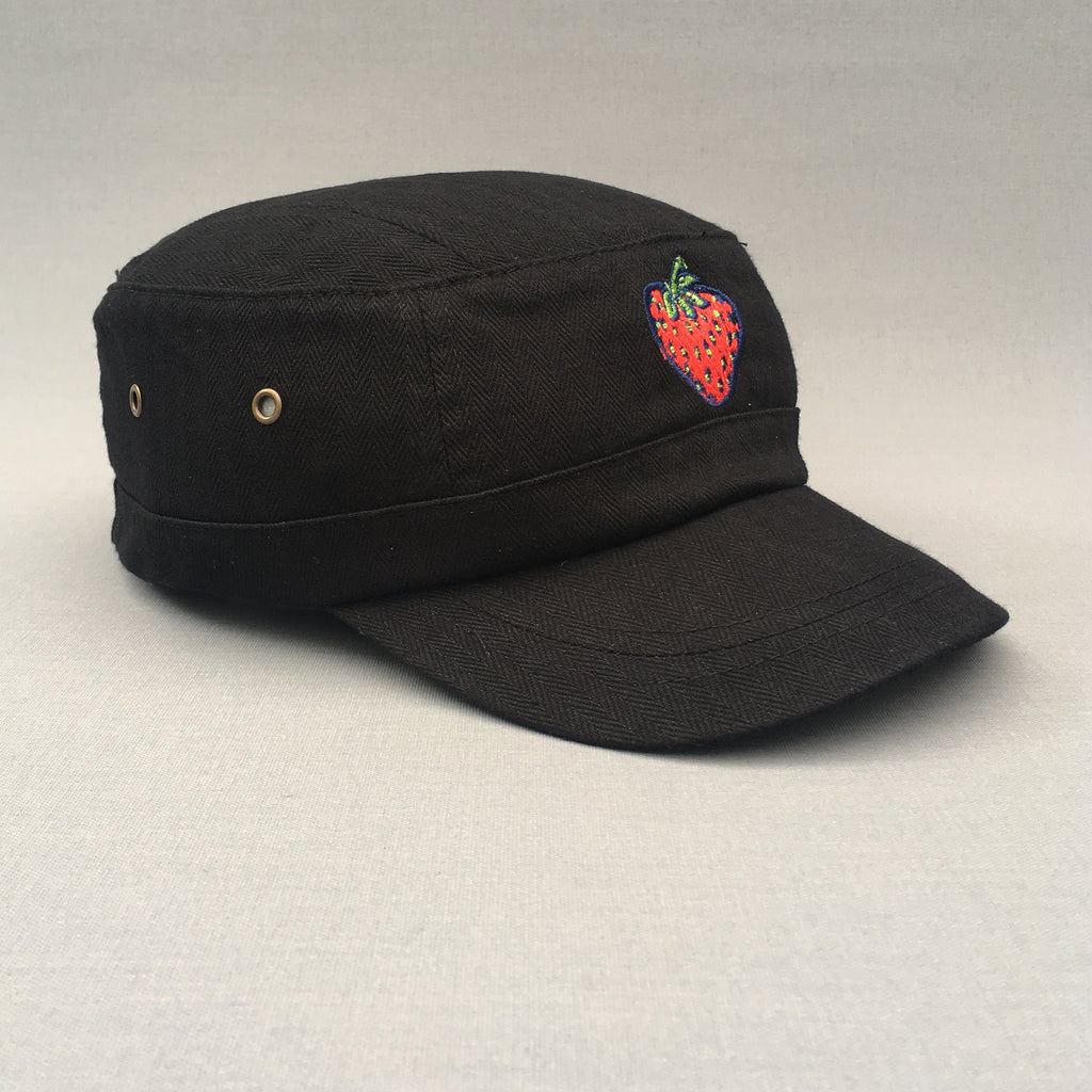 Insane Strawberry Black Herringbone Military Cap