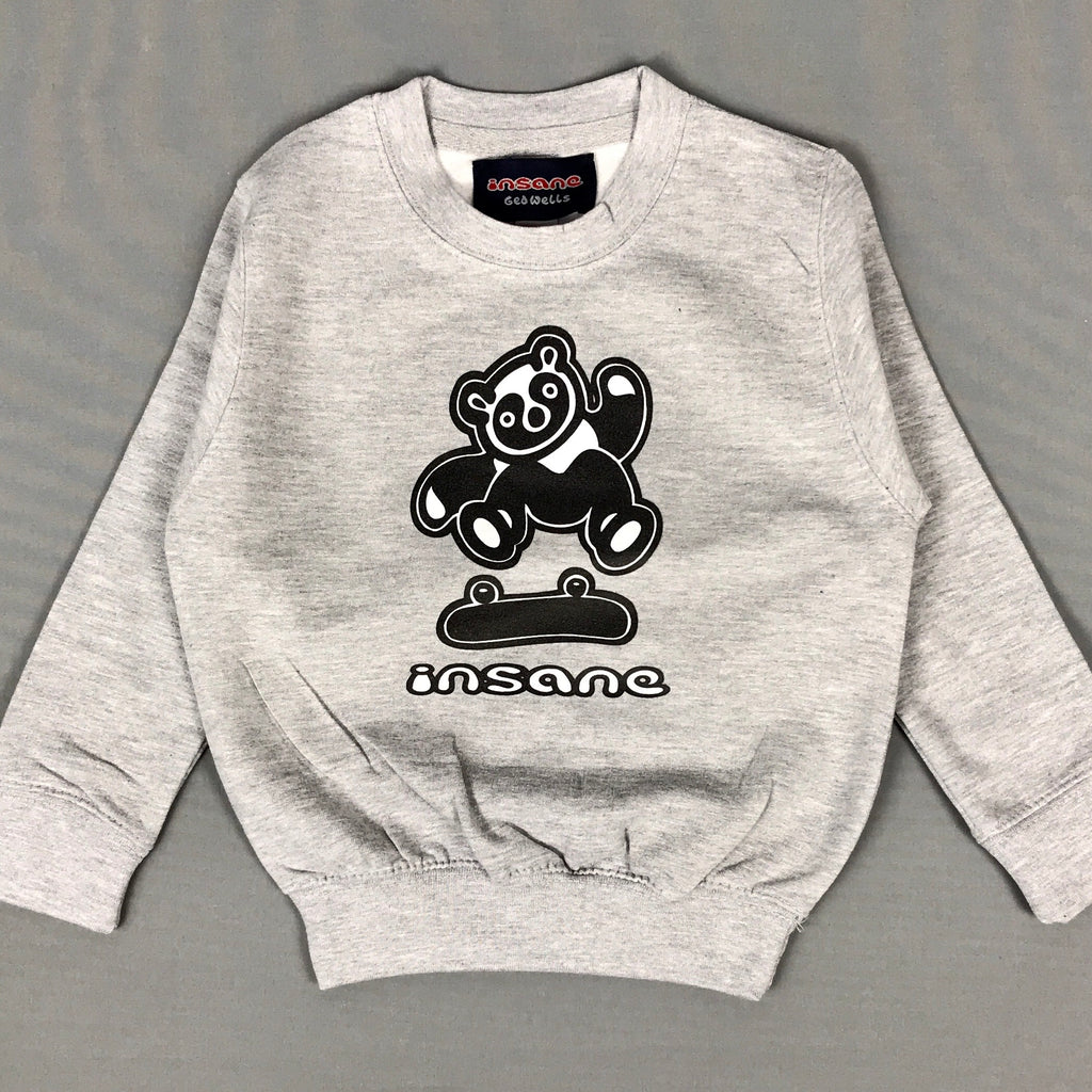 Insane Kids Flip Panda Grey Crew Sweat.