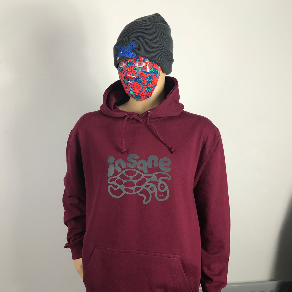 Insane Turtle Burgundy Hooded Sweat